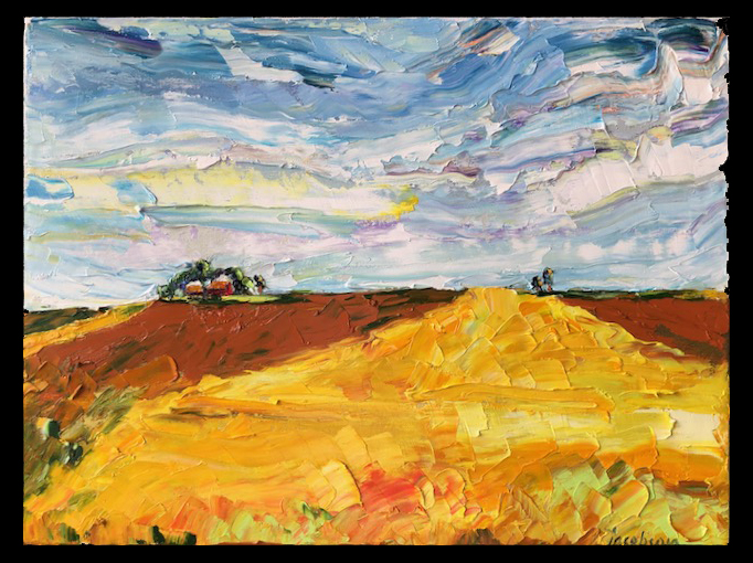 photograph of Carrie Jacobson's pallete knife painting title