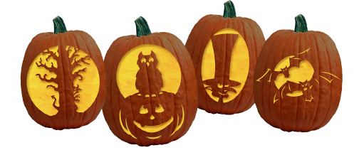 collage of etched pumpkins
