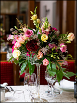floral centerpiece on table