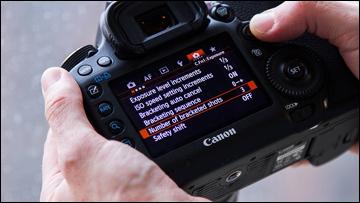 menu on digital camera rear screen